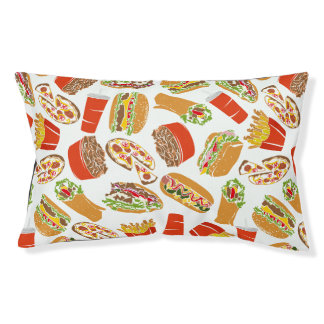 Colorful Pattern Illustration Fast Food Pet Bed
