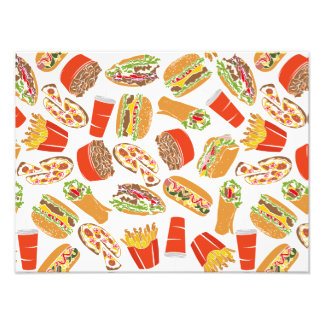 Colorful Pattern Illustration Fast Food Photo Print