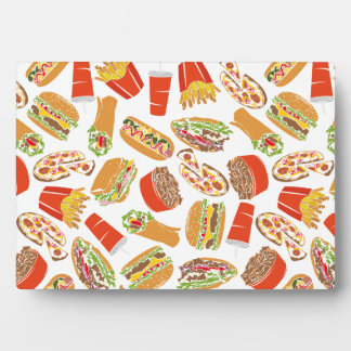Colorful Pattern Illustration Fast Food Plaque