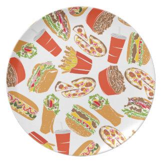 Colorful Pattern Illustration Fast Food Plate