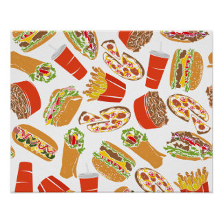 Colorful Pattern Illustration Fast Food Poster