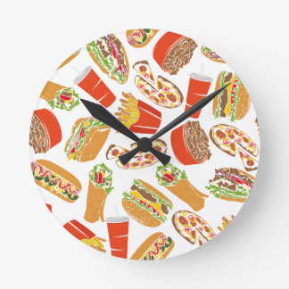 Colorful Pattern Illustration Fast Food Round Clock