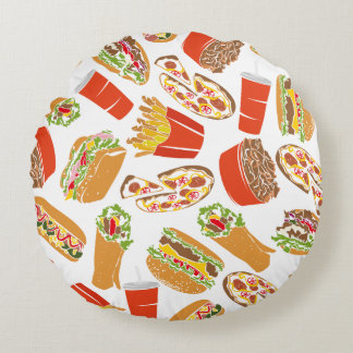 Colorful Pattern Illustration Fast Food Round Pillow
