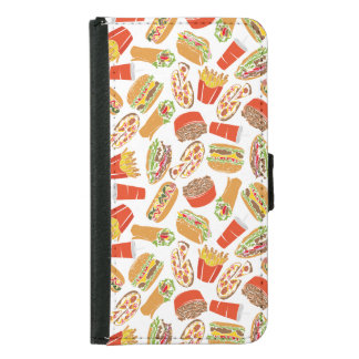 Colorful Pattern Illustration Fast Food Samsung Galaxy S5 Wallet Case