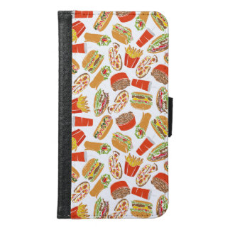 Colorful Pattern Illustration Fast Food Samsung Galaxy S6 Wallet Case