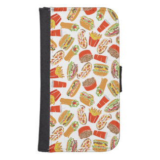 Colorful Pattern Illustration Fast Food Samsung S4 Wallet Case