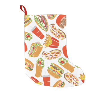 Colorful Pattern Illustration Fast Food Small Christmas Stocking