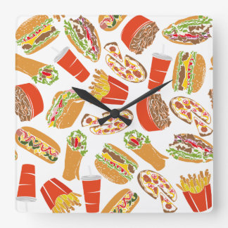 Colorful Pattern Illustration Fast Food Square Wall Clock