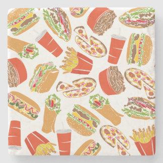 Colorful Pattern Illustration Fast Food Stone Coaster