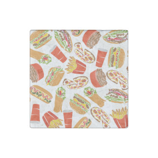 Colorful Pattern Illustration Fast Food Stone Magnets