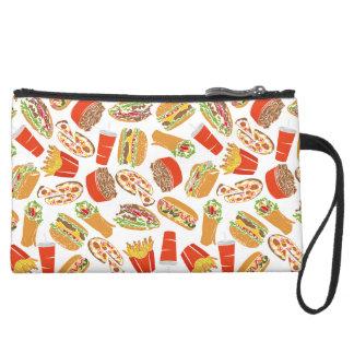 Colorful Pattern Illustration Fast Food Suede Wristlet