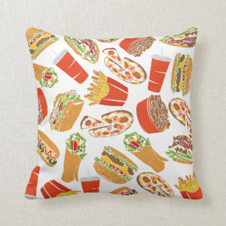 Colorful Pattern Illustration Fast Food Throw Pillow