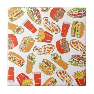 Colorful Pattern Illustration Fast Food Tile