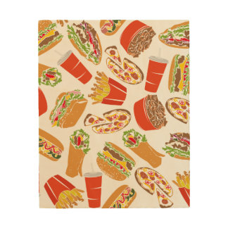 Colorful Pattern Illustration Fast Food Wood Wall Art