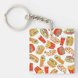 Colorful Pattern illustration nearly Food Keychain