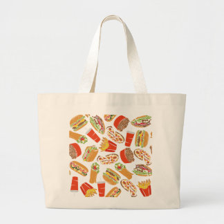 Colorful Pattern illustration nearly Food Large Tote Bag