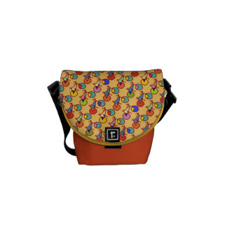 colorful pattern of bikes messenger bags