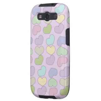 colorful pattern of hearts and purple background samsung galaxy s3 cover