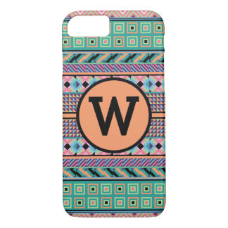 Colorful Pattern (Personalize Monogram Letter) Case-Mate iPhone Case