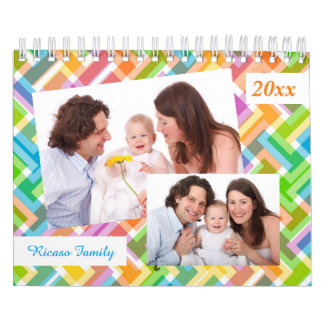 Colorful Pattern Personalized 18 Photo Template Calendars