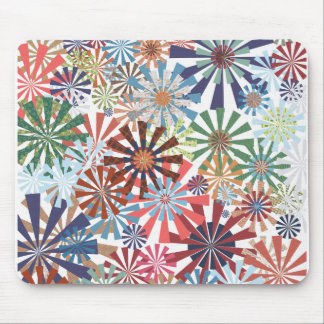 Colorful Pattern Radial Burst Pinwheel Design Mouse Pad