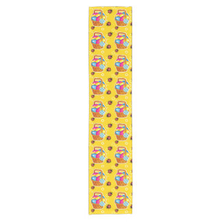 Colorful pattern with Easter basket Short Table Runner