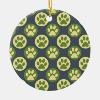 Colorful Paw Print and Polka Dot Pattern Round Ceramic Ornament
