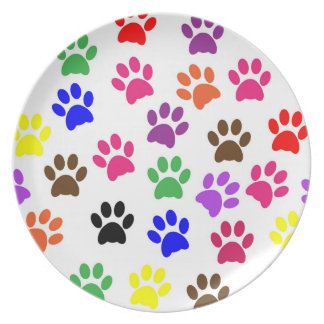 Colorful Paw Print Melamine Plate