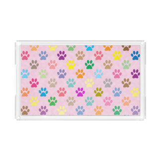 Colorful paw prints acrylic tray