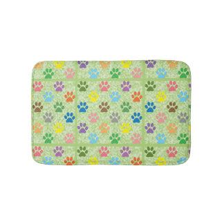 Colorful paw prints bath mat