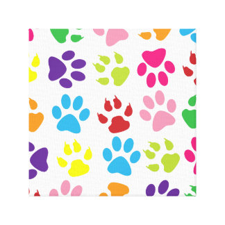 Colorful Paw Prints Canvas Print