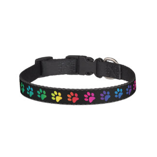 Colorful Paw Prints on Black Pet Collar