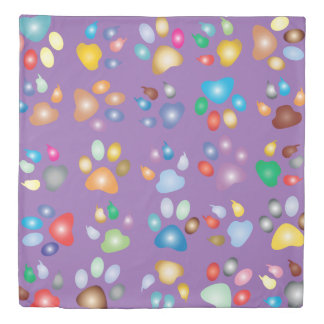 Colorful Paw Prints On Mauve Duvet Cover