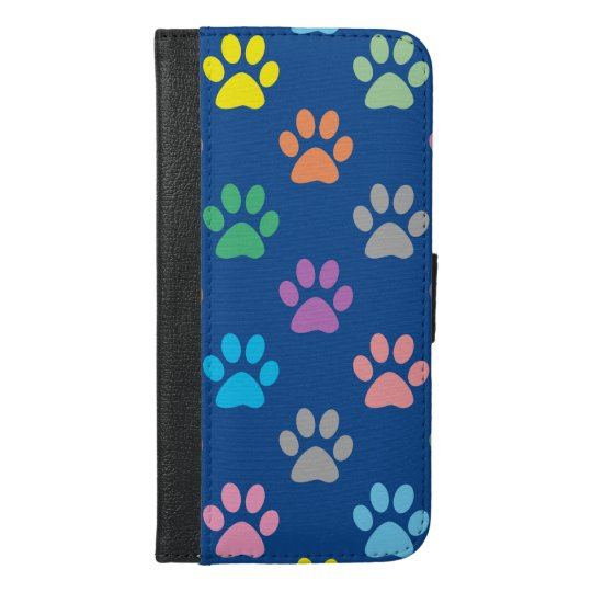 Colorful paw prints pattern iPhone 6/6s plus wallet case