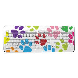 Colorful Paw Prints Wireless Keyboard