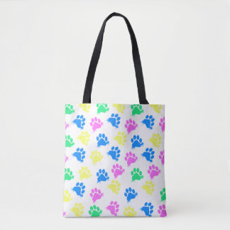 Colorful Paws Print- All Over Tote Bag