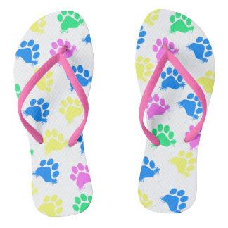 Colorful Paws Print- Flip Flops