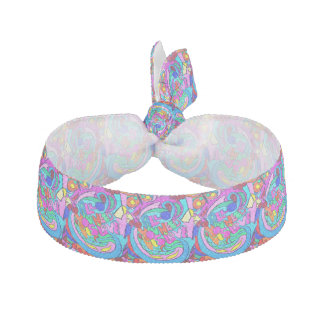 colorful peace and love hair tie