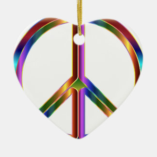 Colorful Peace Sign Ceramic Heart Ornament