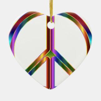 Colorful Peace Sign Ceramic Ornament