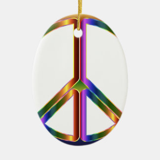 Colorful Peace Sign Ceramic Oval Ornament