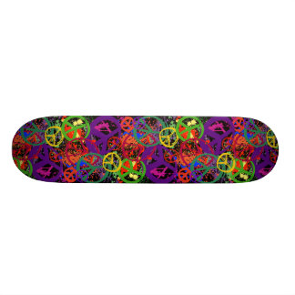COLORFUL PEACE SIGN COLLAGE SKATEBOARD