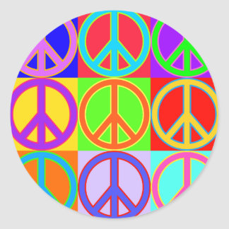 Colorful Peace Sign Design Round Sticker