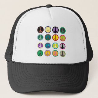 Colorful Peace Signs - Peace Sign pattern Trucker Hat