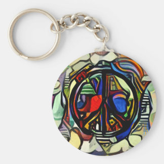 Colorful peace symbol basic round button keychain
