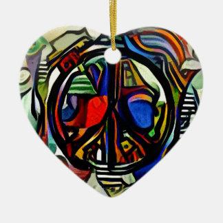 Colorful peace symbol ceramic heart ornament