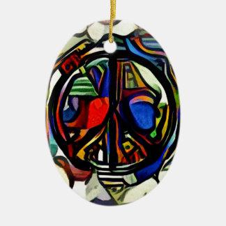 Colorful peace symbol ceramic oval ornament