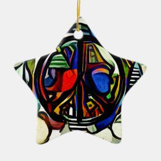 Colorful peace symbol ceramic star ornament