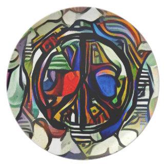 Colorful peace symbol plate