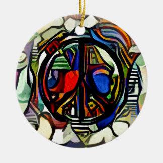 Colorful peace symbol round ceramic ornament
